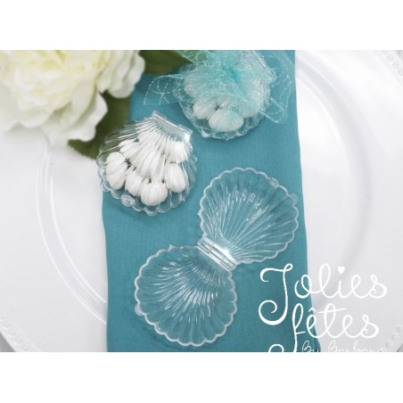 boite a dragees coquillage transparent mariage theme mer